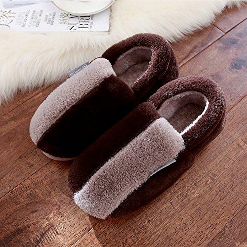 DogHaccd pantofole,In inverno il cotone pantofole donna bella calda spessa coperta pacchetto con uomini antiscivolo scarpe coppie autunno e inverno Il caffè2