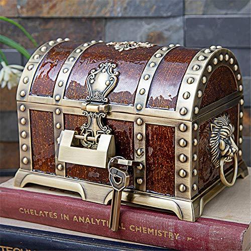 schmuckkästchen damen, Metall kreative mehrschichtige Schloss Schatztruhe, Europäische Retro Piratenschatulle Schmuck Aufbewahrungsbox - Bronze