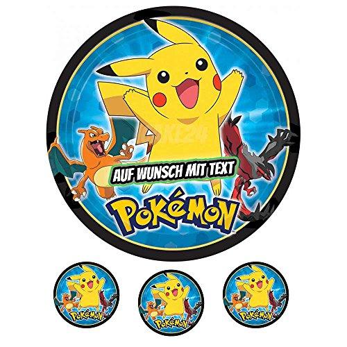 Tortenaufleger Geburtstag Tortenbild Zuckerbild Oblate Motiv: Pokemon 03 (Zuckerpapier)
