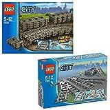 Lego CITY 2er Set 7499 7895 Flexible & gerade Schienen + Weichen für Eisenbahn