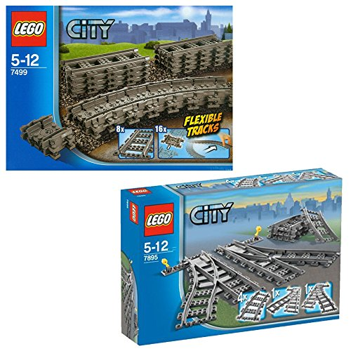 Lego CITY 2er Set 7499 7895 Flexible & gerade Schienen + Weichen für Eisenbahn (Eisenbahn-set City Lego)