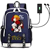 Anime The Promised Neverland Mochila escolar casual 3D impresa para niños niñas niños bolsa de viaje con USB