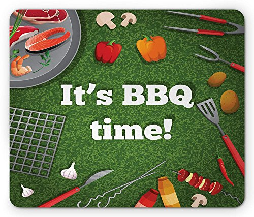 BBQ Party Mouse Pad, Its BBQ Time Quote on Green Toned Background with Food and Grilling Utensils, Standard Size Rectangle Non-Slip Rubber Mousepad, Multicolor 9.8 X 11.8 inch
