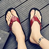fankou Slippers Male Summer Sandals Men's Beach Student Shoes, Casual Clip Toe Sandals Men Field Drag-and-Drop Male Tide,42, Brown