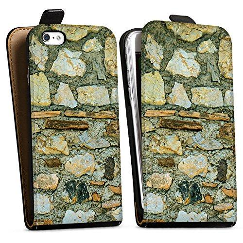 Apple iPhone X Silikon Hülle Case Schutzhülle Mittelalterliches Gemäuer Steinwand Steine Look Downflip Tasche schwarz