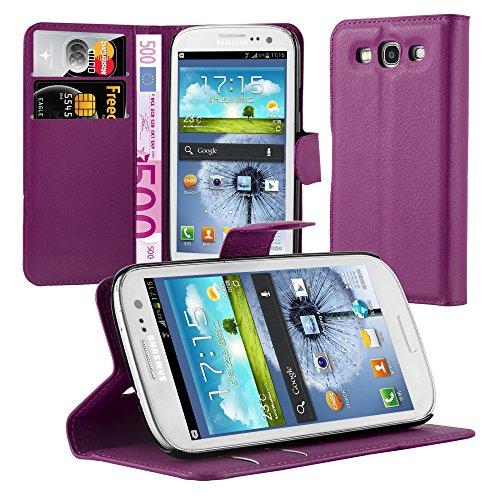 Cadorabo - custodia compatibile con samsung galaxy s3 / s3 neo, modello mangan violett, con scomparto per carte di credito e funzione leggio