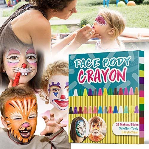 HENMI Pinturas Cara para Niños Seguridad no tóxica Pintura Facial,  28 Colores Crayons de Pintura Ajuste Halloween,  Fiestas,  Semana Santa, Navidad.