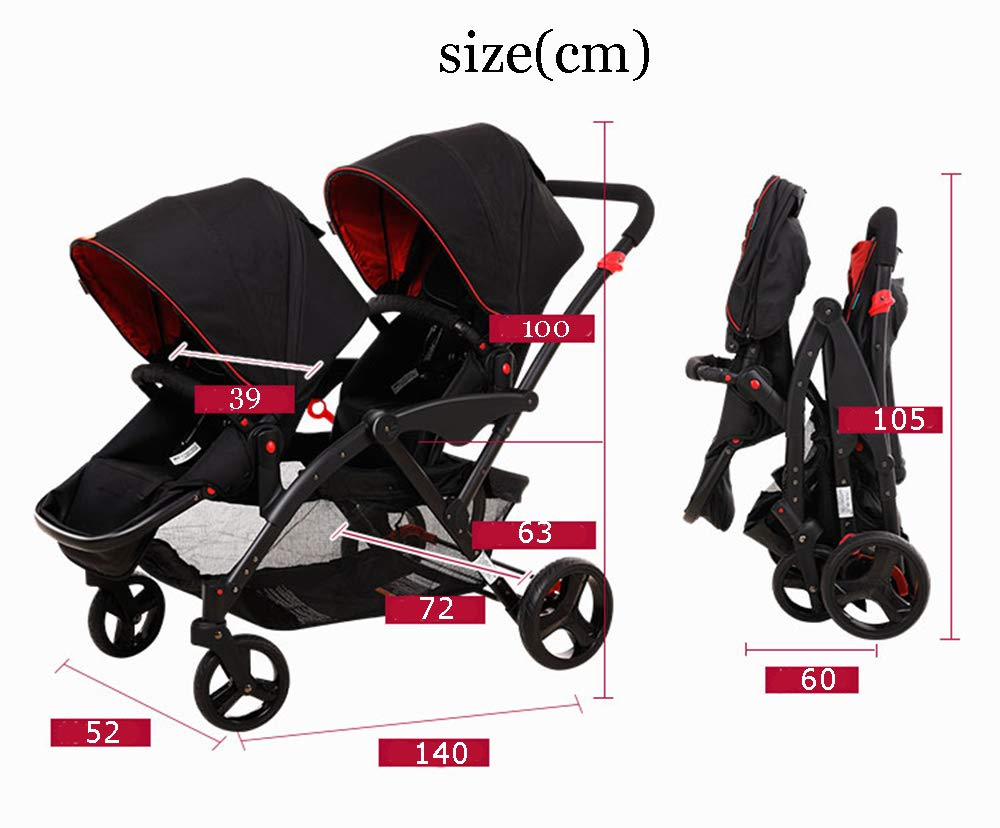 MYRCLMY Double Stroller Twins Baby Stroller,Can Sit And Detachable,Ultralight Portable Folding Backrest Push Handle Double Trolley Jogging Four-Wheel Four Seasons Universal,Black MYRCLMY *TWIN STROLLER: Getting everywhere with two little ones has never been easier, thanks to the Double Strollers; you can glide around town even when you only have one hand free to steer; you can even roll through a standard size doorway. *ADJUSTABLE BACKREST & CONNECTABLE SEATS :The backrest can adjust to fit baby's sleep posture to keep comfortable sleeping. Two seats can be connected to lengthen the seat. *SAFETY WHEELS & 5-POINT SAFETY BELTS:The springs in front wheels absorb shocks for easy to control direction and safety. The 5-point safety belt is equipped with each seat to ensure security while keeping your baby fit to the safety belt to feel comfortable. 2