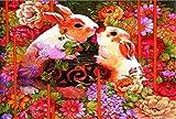 zzcpt DIY Puzzle 1000 Pezzi Coniglio, dodici Zodiaco Puzzle Carta Bianca Giocattoli educativi per Bambini adulti-500pcs