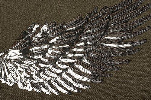 styleBREAKER Einkaufstasche mit Pailletten Flügel Applikation, Tragetasche, Canvas Stofftasche, Tasche, Unisex 02012213, Farbe:Schwarz Oliv