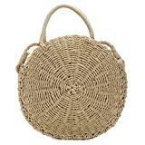 Straw Crossbody Bag for Women Weave Shoulder Bag Round Summer Beach Purse and Handbags (Khaki)