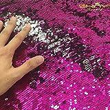Shinybeauty Tessuto 'sirena' con paillettes, reversibile, fucsia e argento, per fai da te, per abito da sposa o da sera, per una fodera per cuscini (0,9 m), personalizzabile, Fuchsia&Silver, 0,9 m