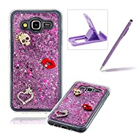 For Samsung Galaxy J500 Liquid Case,For Samsung Galaxy J500 TPU Silicone Clear Case,Herzzer Creative Luxury 3D Design Liquid Quicksand Floating Flowing Bling Glitter Sparkle Stars Love Hearts Triangle Sequin Anti Scratch Bumper Soft Rubber Back Cover For Samsung Galaxy J500 + 1 x Free Purple Cellpho
