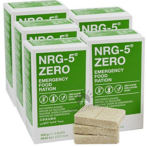 Notverpflegung 5x NRG-5 ZERO Glutenfrei Survival 500g Notration Notvorsorge | 5x9 Riegel Survivalnahrung Expeditions Grundausstattung wie EPA