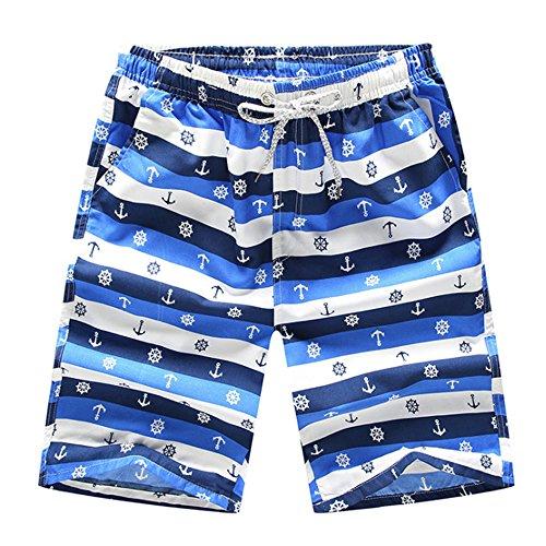 Rocita Herren Jungen Strand Shorts, Kurze Badeshorts Badehose Bunte Schnelltrockende Beachshorts für Männer, Ruder & Anker, XL
