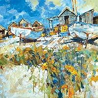 """Chris Forsey """"Daisies Amongst The Pebbles"""" Canvas Print, Cotton, Multi-Colour, 3.20 x 40.00 x 40.00 cm"""
