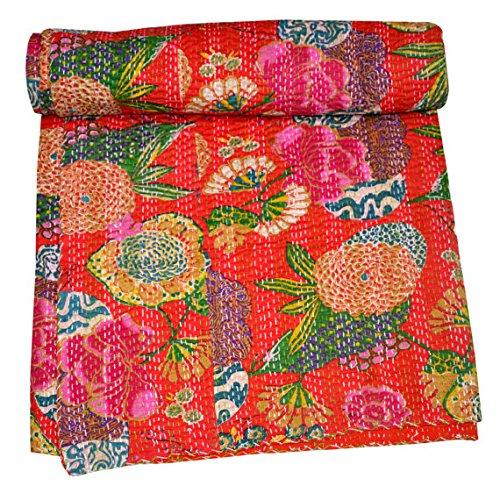 Jaipur Handloom Couvre-lit orange en pur coton matelassé révérsible Imprimé Floral décoratif Kantha Grande taille