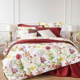 Uni Mall–Juego de ropa de cama (2piezas, 135x 200cm Algodón Reversible aspecto, 100% algodón, Weiß, 135x200cm + 80x80cm *1
