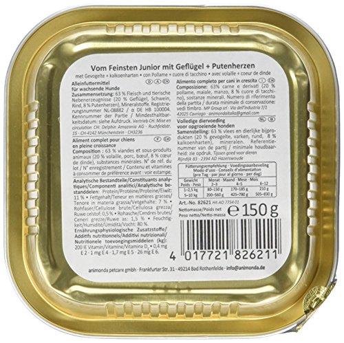 Animonda vom Feinsten Junior 82621 Geflügel+Putenherzen 22 x 150 g Schale – Hundefutter - 5