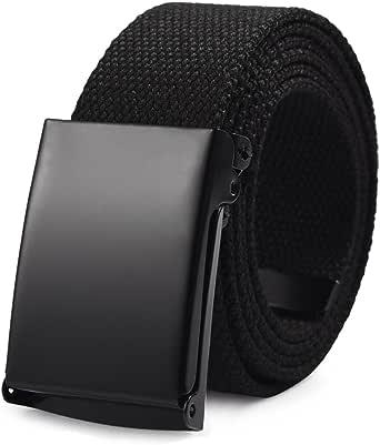 Vbiger Unisex Belt Canvas Belt with Automatic Buckle Military Tactical Black Belt