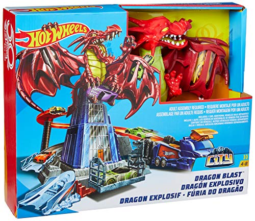 Hot Wheels- Piste l'Attaque du Dragon Circuit de Voiture, DWL04, Multicolore