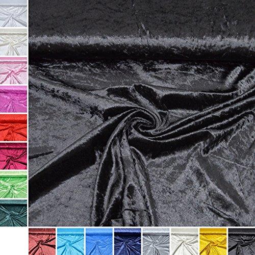 MAGAM-Stoffe Panne-Samt ''Katharina'' Sehr Hochwertiger Stoff Ideal für Kleidung, Kissen und Möbel - Meterware ab 50cm - QX (16. Schwarz) (Schwarze Baumwolle Samt)