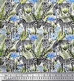 Soimoi Blau Satin Seide Stoff Tropische Blätter, Flamingo