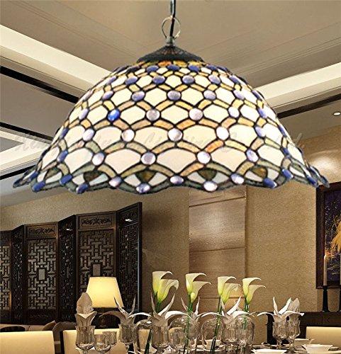 HFJ&YIE& Östliches Mittelmeer Jahrgang Glasmalerei Tiffany Lampe-Stil kreative Hand-Lötmittel Kronleuchter Wohnzimmer Esszimmer Leuchten (Glasmalerei Tiffany-stil-lampe)