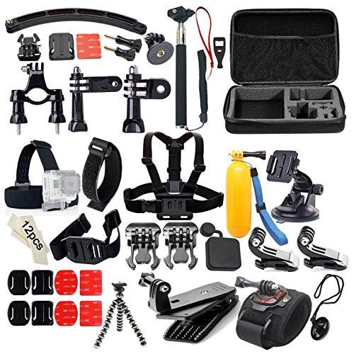Gearmax® 50-in-1 Outdoor Sport Accessori Kit per GoPro Hero 4 Silver Black Hero 4 3+ 3 2 1
