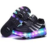 Axcer LED Luci Brillantini Scarpe Sportive con Rotelle per Bambini Ragazze e Ragazzi Collo Alto Retrattile Doppia Ruote Skate