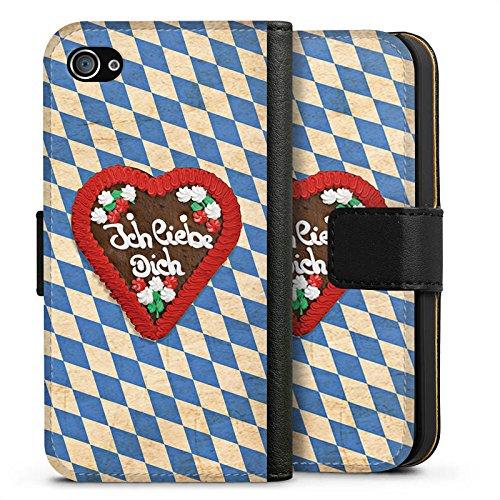 Apple iPhone X Silikon Hülle Case Schutzhülle Love Muster Oktoberfest Sideflip Tasche schwarz