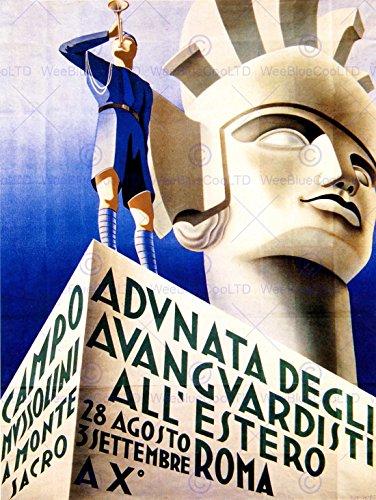 propaganda-political-fascist-mussolini-italy-bugle-statue-rome-poster-affiche-30x40-cm-12x16-in-bb68