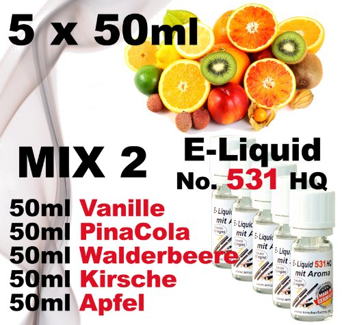 5 x 50 ml E-Liquid - No. 531 HQ - MIX 2 - Vanille PinaCola Wald-Erdbeere Kirsche Apfel - 0,0mg Nikotin - MADE in GERMANY