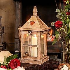 Idea Regalo - Lanterna anticata in legno riciclato con base a forma di cuore ritagli–il regalo ideale per uno stile shabby chic Home–H35CM W15x L15CM