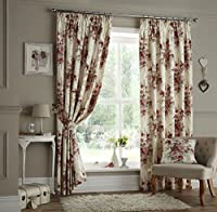 Viator Red Floral 66x54 Cotton Blend Lined Pencil Pleat Curtains #eladlim *cur by Curtains