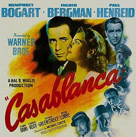 Casablanca, Humphrey Bogart, Ingrid Bergman, Paul Henreid, Claude Rains, 1942 (2) - Premium-Filmplakat Reprint 12x12 Inch Ungerahmt