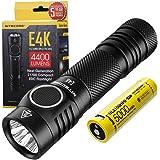 Nitecore E4K Rechargeable Flashlight - 4400 Lumen LED - High Power Torch for EDC - IP68 Waterproof ([ USB-C 21700 Battery inc