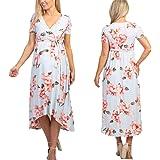 Vestido Floral de Maternidad de Verano para Mujer Embarazada Vestido de Verano con Cuello en V Casual Vestido de Flores de Ma