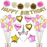 Skyoo Happy Birthday Decorations Supplies, Happy Birthdays Banner Garland, 6pcs Colorful Paper Pompom Flower Balls, 6pcs Foil Balloon, 30pcs Party Balloons, 1pcs Unicorn Head Onaments