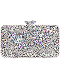 9d5da9c749b5 Bonjanvye Crystal Rhinestone Flower Clutch Purse for Women Evening Dressing  Match