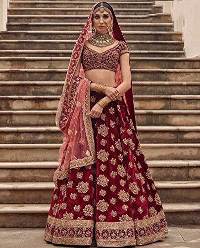 Maroon Semi Stitched Tapeta Velvet Silk Embroidery Bridal Lehenga Choli