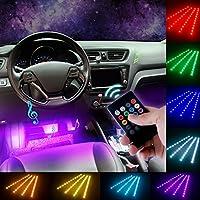 DITRIO 4x12LED Innenbeleuchtung Auto Lichtleiste mehrfarbliche LED Streifen mit Fernbedienung und KFZ Ladegerät DC 10-15V