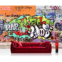 Papel Pintado Fotográfico Premium Plus fotográfico pintado–cuadro de pared–Graffiti Stonewall–Habitación de los Niños Graffiti Street Art Graffiti Sprayer 3d Multicolor–No. 032, multicolor, Fototapete 200x140cm   PREMIUM PLUS