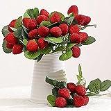 GeKLok Strawberry pianta artificiale, pianta finta seta artificiale fragola di bosco lampone frutta ramo-party wedding Decor Home, Red, Taglia libera