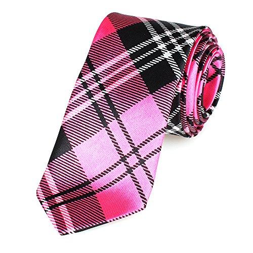 Schmale dünne Krawatte 5cm handgenäht Polyester (pink-kariert)