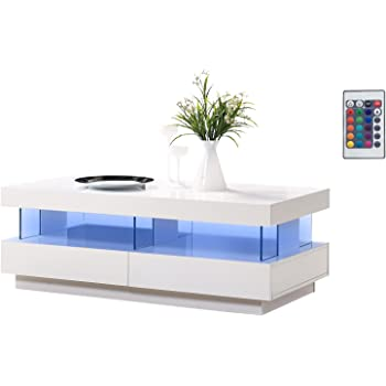 Mmt White Gloss Coffee Table With Led Rgb Remote Control Light