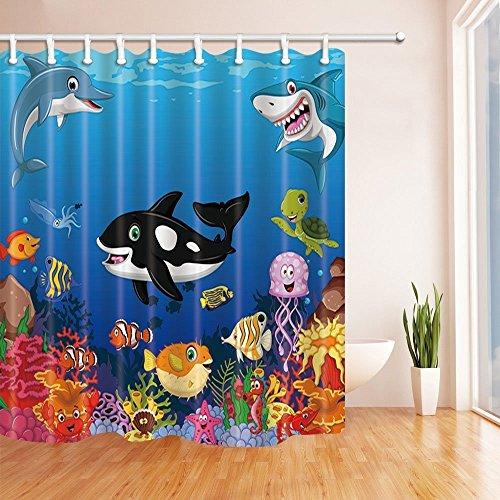 Rrfwq Duschvorhang, mit Meerestiere, Wal mit Kinder-Badekappe, Polyester-Gewebe wasserdichte Badezimmer Duschvorhang mit Haken, 180x 180cm