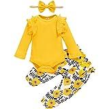 ZOEREA Bébé Fille Ensemble de Vêtements 3 Pièces Mode Manches Longues Barboteuse Combinaison à Volants + Pantalon à Fleurs +