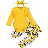 ZOEREA Bébé Fille Ensemble de Vêtements 3 Pièces Mode Manches Longues Barboteuse Combinaison à Volants + Pantalon à…