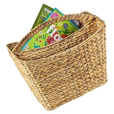 Zeitungsständer / Zeitungskorb aus Wasserhyazinthe mit Einteilung gebogener Griff von maDDma bei Du und dein Garten